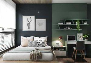 phòng ngủ với tường hoa tiết tối