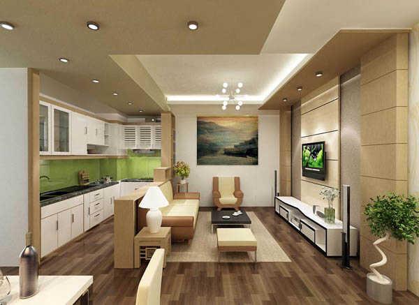 phòng khách kết hợp với bếp