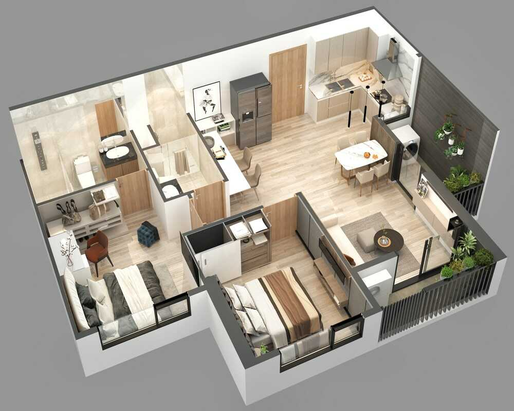 thiết kế nội thất căn hộ hai phòng ngủ